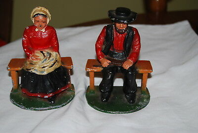 "Vintage pair of cast iron Amish bookends 5"" tall"