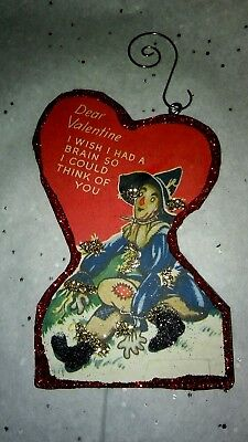 Vintage Valentine's Day  Card Glitter Wood Ornament Wizard of Oz Scarecrow