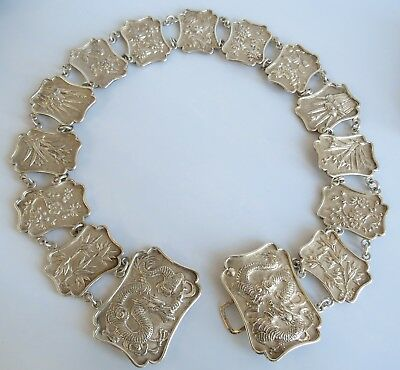 CHINESE EXPORT STERLING SILVER BELT & BUCKLE Dragons Flowers 170 grams signed