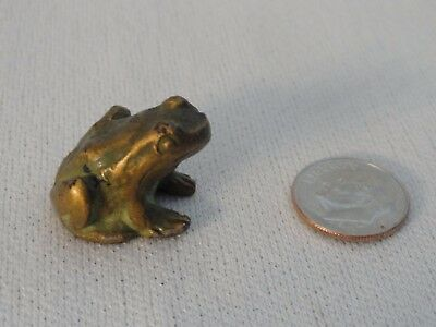Vintage Tiny Brass??  Frog NIce Patina Size of a Dime Heavy