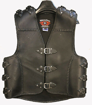 Heavy Duty 3MM Motorcycle Club Vest Thick A Grade COWHIDE Leather BRAID/buckle