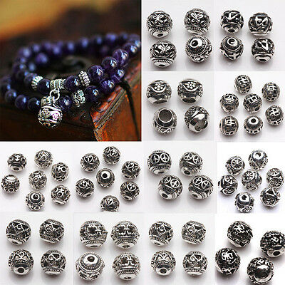 10/20Pcs Hollow Silver Plated Loose Spacer Beads Jewelry Craft Making Finding