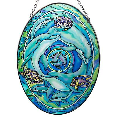 "Dolphin Planet Suncatcher Hand Painted Glass AMIA 9"" x 6.5"""