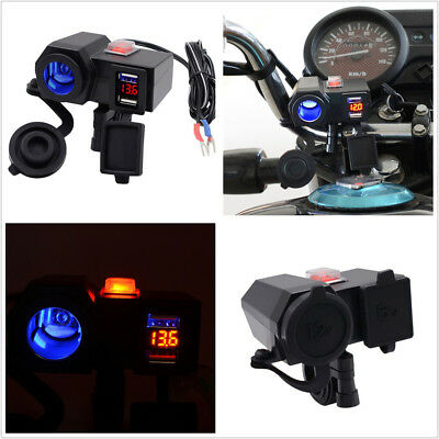 Motorcycle Scooter ATV Cigarette Lighter 2USB Charger Blue LED w/Voltmeter DC12V