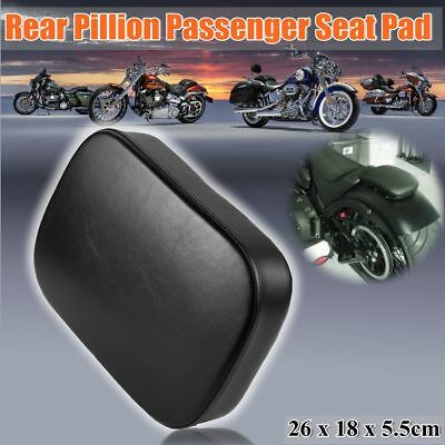 Leather Black Motorcycle Pillion Passenger PAD Seat w/ 8 Suction Cups For Harley