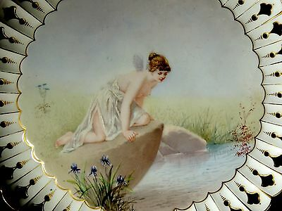 1893 Victorian Hand Painted Porcelain Plate PAUL THUMANN Psyche White Rock Soda