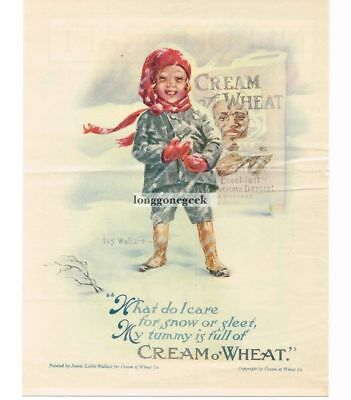 1922 CREAM OF WHEAT Cereal Poem Little Girl in Snow LES WALLACE art Vtg Print Ad