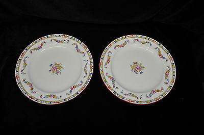 "2 Minton Rose A4807 10 1/4""  Dinner Plates Older Smooth Globe Backstamp Floral"