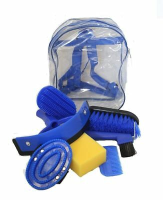 Horse Grooming Kit Set 8 Pieces Barn Stable Supply Brushes Hoof Pick Sponge Blue