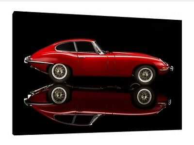E-Type Jaguar - 30x20 Inch Canvas Art Work - Framed Picture Classic Car