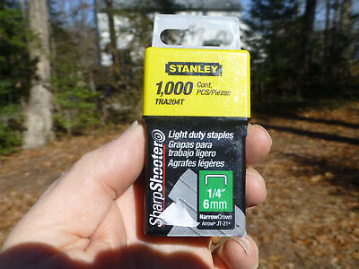 "1,000 Stanley TRA205T 5/16"" 8mm Narrow Crown Wire Staples for Arrow JT-21 Grapas"