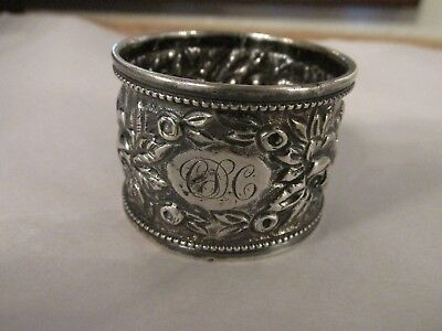 Floral Repousse Victorian STERLING NAPKIN RING CDC monogram