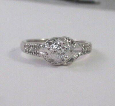STERLING SILVER .25 CTW DIAMOND ENGAGEMENT OR PROMISE RING Sz 7
