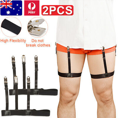 One Pair Men Uniform Shirt Garter Military Stay Adjust Elastic Leg Belt Clip Blk
