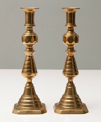 Pair Antique Victorian Double Beehive Brass Candlesticks with Registered Design