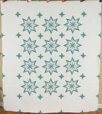 DAZZLING Vintage 40's Green & White Periwinkle Hummingbird Stars Antique Quilt!