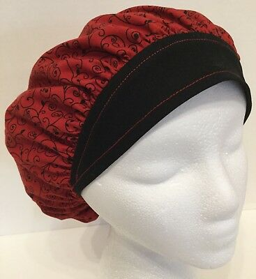 Red and Black Print X-Small Surgical Medical Bouffant OR Scrub Cap Surgery Hat