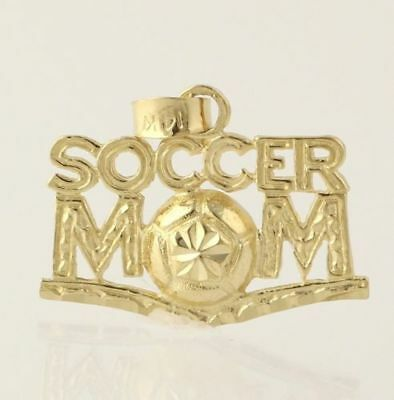 Soccer Mom Pendant - Solid 14k Yellow Gold Sports Gift Women's Fine Fashion