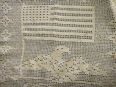 antique HAND CROCHET AMERICANA EAGLE FLAG ecru DOILEY DRESSER TABLE SCARF