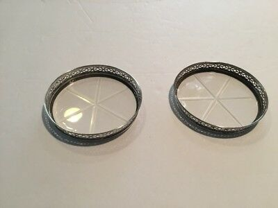 Vintage Deco Cut Glass Coasters Sterling Silver  SET OF 2