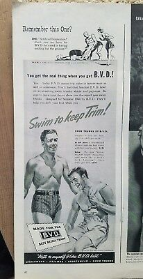 1944 B.V.D. BVD men's underwear swim trunks to keep trim ad