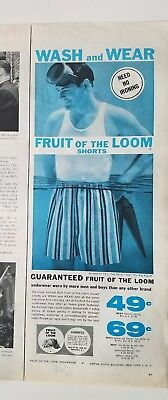 1959 FRUIT OF LOOM men's stripe it underwear scuba diver water vintage ad