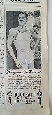 1945 DUOFOLD DUONS men's one piece underwear actions support vintage fashion ad