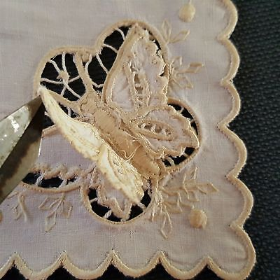 antique BUTTERFLY layered wings CUTWORK LINEN DOILEY COCKTAIL NAPKIN embroidered
