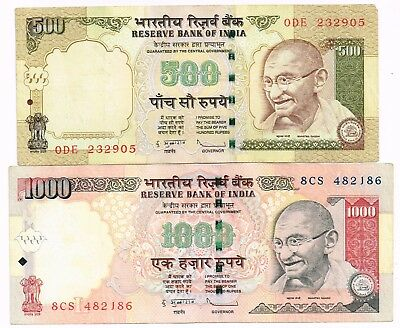 LOT OF TWO 2009-10 INDIA 500 & 1000 RUPEES NOTES - p99d,100f