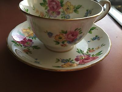 Vintage Royal Chelsea Bone China tea cup and saucer flowered gold trim