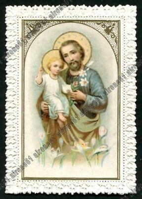 SAN GIUSEPPE 09 SANTINO - HOLY CARD - IMAGE PIEUSE con PIZZO LACE EDGED CANIVET