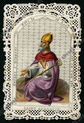 SANT'AGOSTINO 01 SANTINO HOLY CARD IMAGE PIEUSE con PIZZO LACE EDGED CANIVET