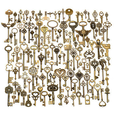 130pcs Antique Vintage old look Ornate Skeleton Keys Lot Pendant Fancy Heart