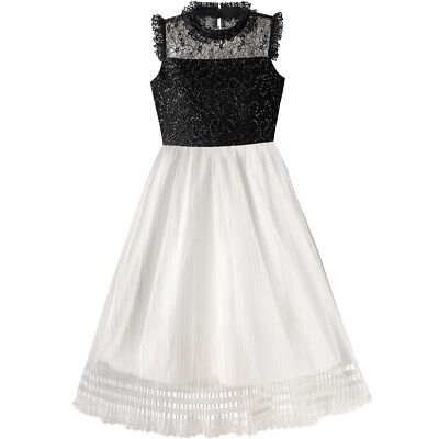 Sunny Fashion Girls Dress White And Black Pleated Skirt Lace Sequin Size 6-14