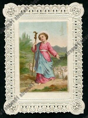 SANTINO 224 HOLY CARD IMAGE PIEUSE con PIZZO LACE EDGED CANIVET TRAFORATO