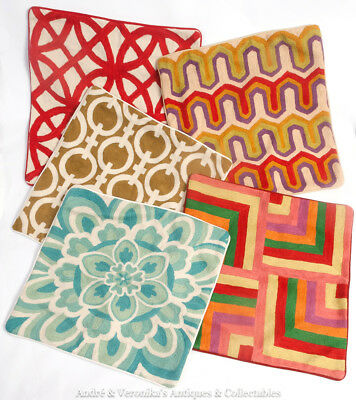 Group 5 x INDIAN Crewel Work Cushion Covers 45cm NEW Muted Colour Modern Boho