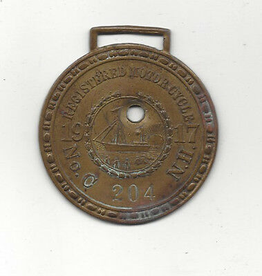 1917 NEW HAMPSHIRE MOTORCYCLE License Plate Disc FOB 17 NH MC 204