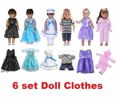 6 Sets Doll Clothes Suits Dress for 18'' American Girl Doll Princess Costumes ☆