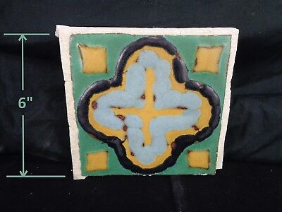 VERY RARE * Grueby Pottery Tile 4 COLOR CROSS Rare Colors 6x6 * (SAVE U FRAME)
