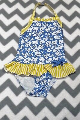 M&S ~ Girls Blue White & Yellow Skirted Halterneck Swimsuit ~ Age 2 - 3 Yrs