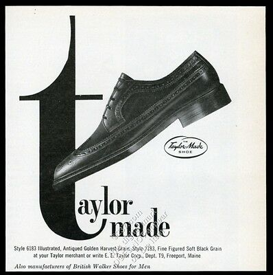 1963 Taylor Made men's wingtip shoes photo vintage print ad