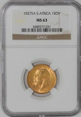 1927 South Africa Sovereign #3689277 MS63 NGC