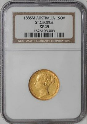 1885M Australia Sovereign St. George #1526108-009 XF45 NGC