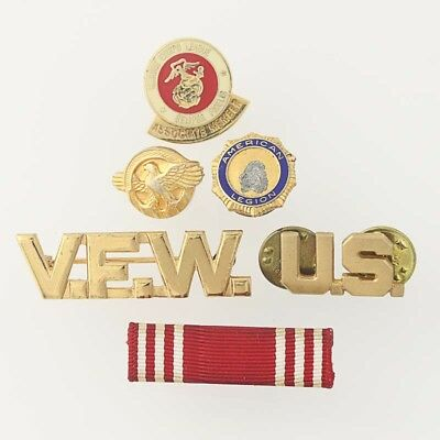 US Military Veterans Pins - Lot of 6 Ruptured Duck American Legion VFW Marines
