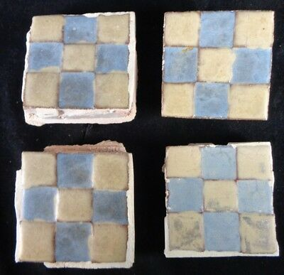 (4) VERY RARE * Grueby Pottery Tile * (2 COLORS) * CHECKERBOARD * (SAVE U FRAME)
