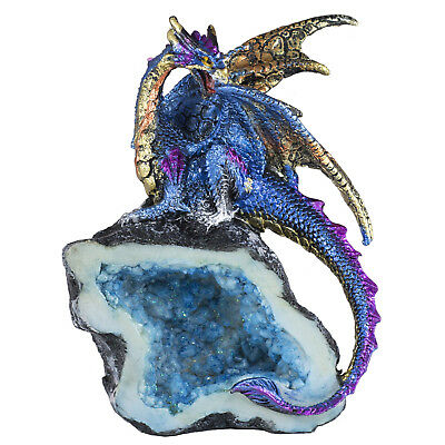 "Metallic Blue Dragon On Geode Rock Figurine Statue 5.25"" High All Resin New"