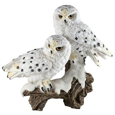 """Pair of White Snowy Owls On Branch Figurine 5.5"""" High Resin New In Box!"""