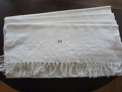 """Set 5 Antique White Huck Linen Dish Hand Kitchen Towels Mono """"m"""" Red Embroidery"""