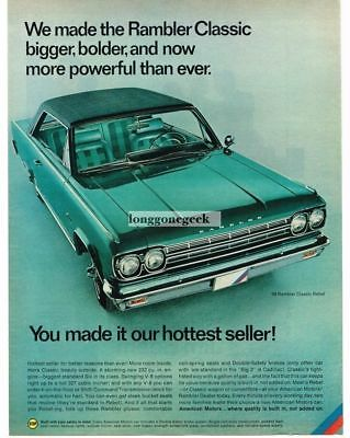 1966 AMC Rambler Green Classic Rebel 2-door Hottest Seller Vtg  Print Ad