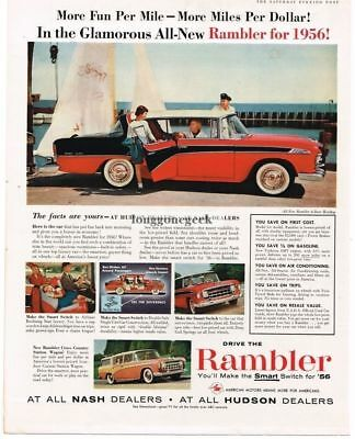 1956 Rambler Custom Red White Black 4-door HT car Vtg Print Ad